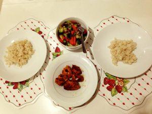 Nasi Perang, Ayam Bakar dan Sayur Broccoli
